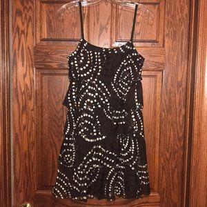NWT MM Couture brown polka dot ruffle dress Medium